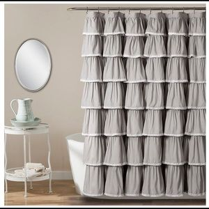 Brand New In Package Gray Shower Curtain. So cute!